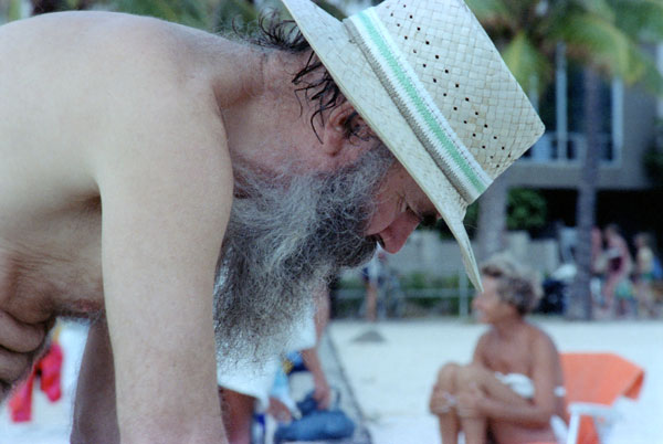 Old Man at Waikiki Beach, April 1980